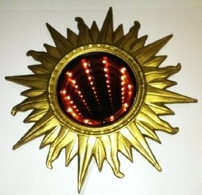 "Art Deco Sunburst Infinity Light & Mirror - 18"" round with 8"" infinity mirror - 6 Foot Cord w/ on/off switch - matte gold color finish - 1970's Retro look"