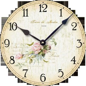 Item C2001 Vintage Shabby Chic Style Roses Clock (10.5 Inch Diameter)
