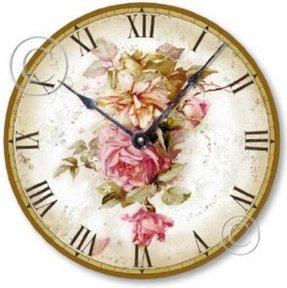 Item C6004 Vintage Victorian Style Pink Roses Clock (10.5 Inch)