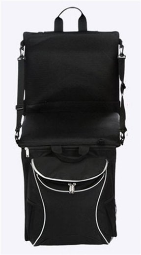 Picnic Plus Portable Stadium Seat with Cooler and Shoulder Straps, Black