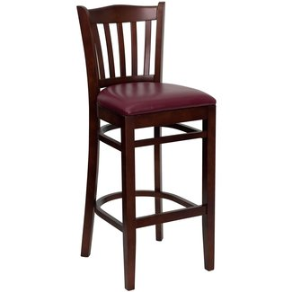 Flash Furniture XU-DGW0008BARVRT-WAL-BLKV-GG Hercules Series Walnut Finished Vertical Slat Back Wooden Restaurant Bar Stool with Black Vinyl Seat