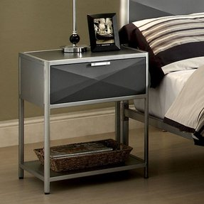 Furniture of America Bronx Metal 1 Drawer Nightstand - Silver and Dark Gray