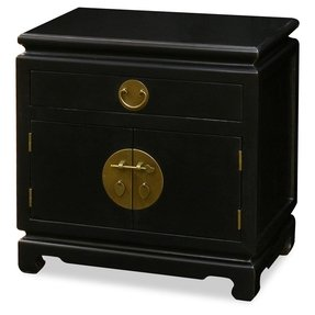 Ming Style Nightstand Cabinet - Black