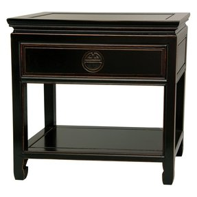 Oriental Furniture Classic Oriental Nightstand, 22-Inch Fine Chinese Rosewood Bedside Table, Antiqued Black