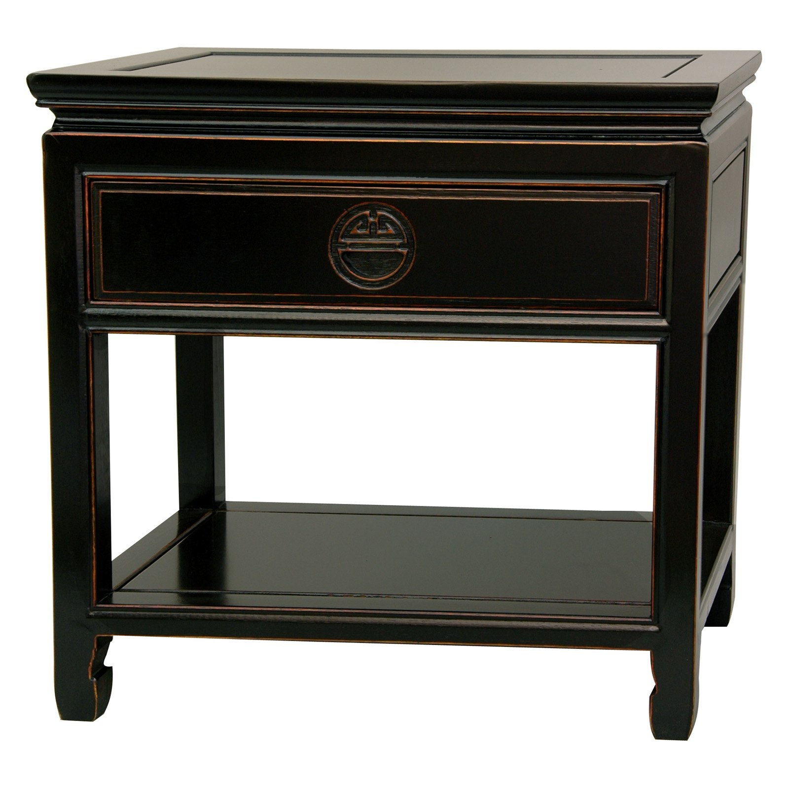Oriental Furniture Classic Oriental Nightstand, 22 Inch Fine Chinese  Rosewood Bedside Table, Antiqued