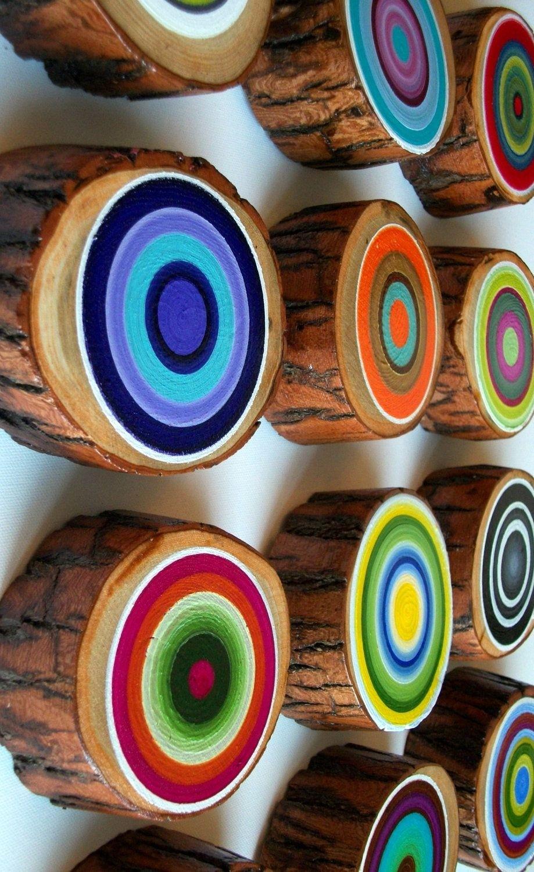 3 MODERN ART CANVAS PAINTINGS BROWN//CREAM CIRCLES