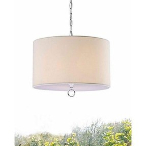 Beige fabric 3 light chrome chandelier