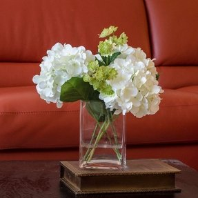 White hydrangea arrangement silk flowers