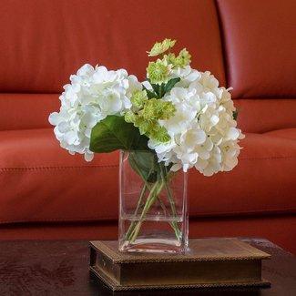 White Hydrangea Arrangement Silk Flowers