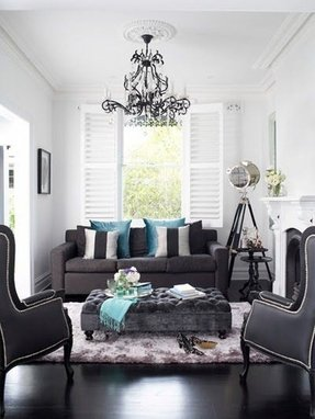 Gray and silver living room