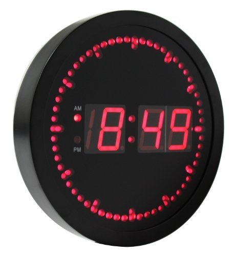 Elegant EHealthSource Big Digital LED Wall Clock With Circling LED Second Indicator    Round Shape / 10