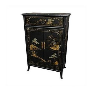 Oriental Furniture Fine Asian Furniture, 36-Inch Japanese Bamboo Design Lacquered Oriental Shoe Cabinet, Matte Black