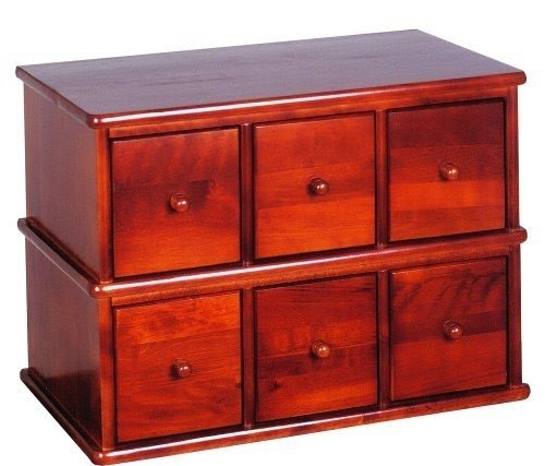 Leslie Dame Wood CD, DVD Storage Cabinet 6 Drawer Apothecary Style CD 150W  Walnut