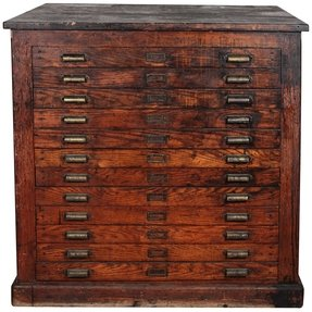 Antique oak printers flat file cabinet 1