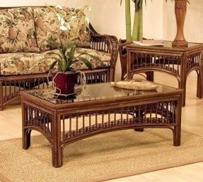 Hospitality Rattan St. Lucia Rattan & Wicker Coffee Table with Glass - Antique