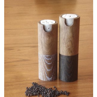 Peppermill and salt grinder white oak