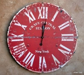 "23"" Large Grand Central Station New York Wall Clock ~ Burnt Red Beige Finish"