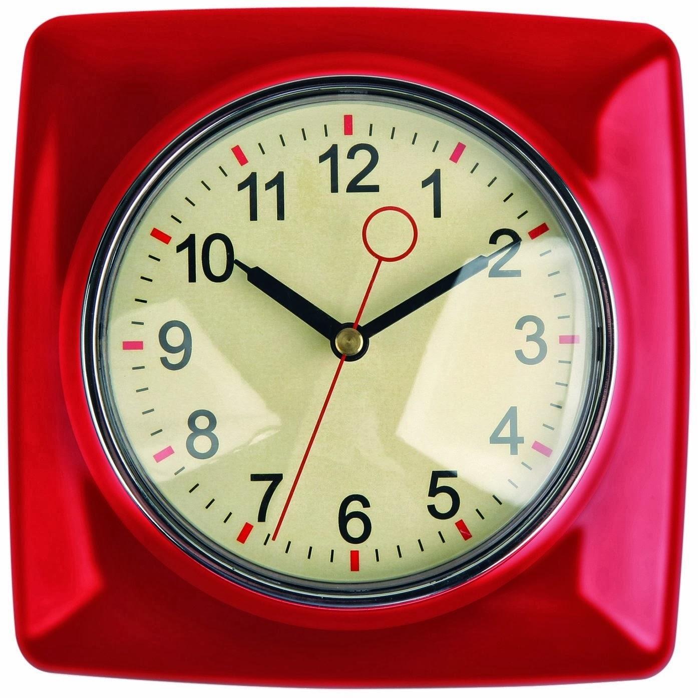 Genial Kikkerland Retro Kitchen Wall Clock, Black