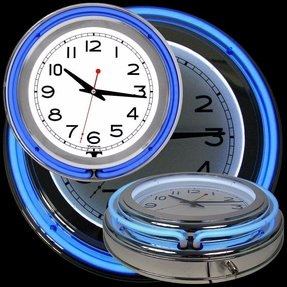 Trademark 14-Inch Double Ring Blue Outer White Inner Neon Clock
