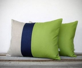 Color block stripe pillow in lime green