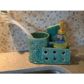 Green ceramic organizer hand built can