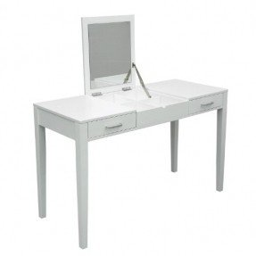 HomCom Modern White Dressing Vanity Table Make Up Writing Desk W/ Flip  Mirror U0026 Storage