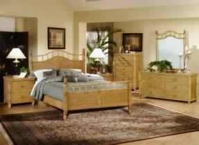 Bali Wicker Rattan 4 Pc Bedroom Set Color Antique Honey Size