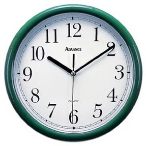 Geneva/Advance Clock Co 8104 Quartz 10-Inch Hunter Green Plastic Wall Clock
