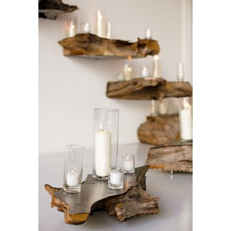 Natural wood floating shelves