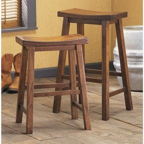 Powell Honey Brown 24 in. Saddle Seat Counter Stool