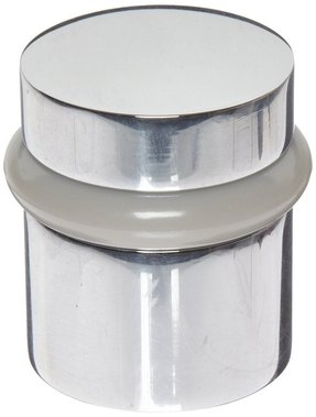 "Rockwood 446.26 Brass Modern Style Universal Door Stop, #12 X 1-1/2"" WS Fastener with Plastic Anchor and 12-24 x 1"" FH MS Fastener with Lead Anchor, 1-1/4"" Base Diameter, 1-1/2"" Height, Polished Chrome Plated Finish"