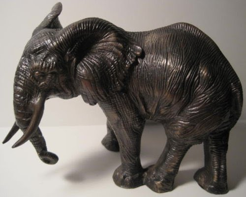 Solid Brass, African Elephant Door Stop or Display Figurine, 8 Pounds