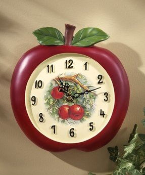 Collections Etc - Vintage Look Apple Kitchen Wall Clock