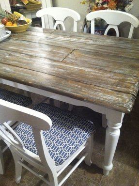 Distressed wood kitchen tables