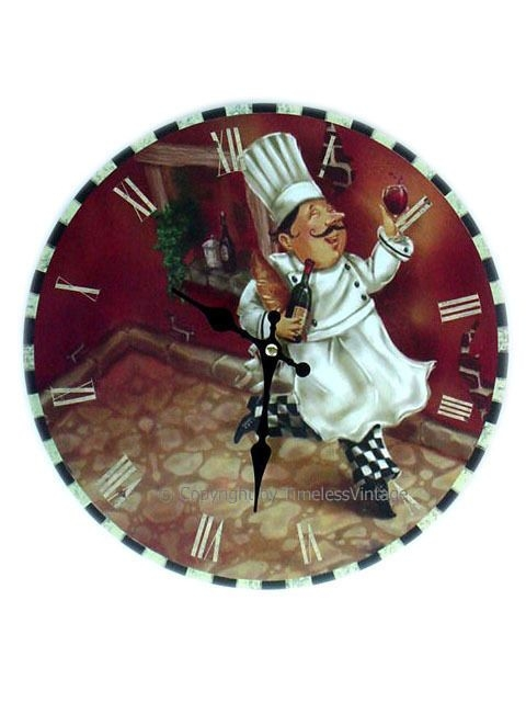 Fat French Chef Wine Wall Clock / Kitchen Bistro Decor