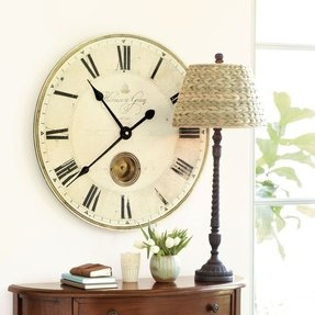 Large Gray Pendulum Wall Clock Roman Numerals 30""