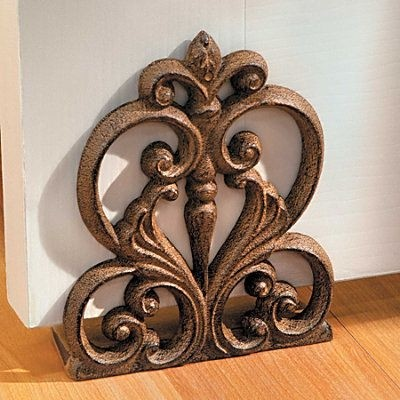 Scroll medallion cast iron decorative door stop home decor new