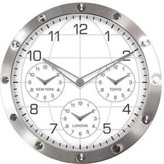 13.7IN METAL WALL CLOCK PERP MULTI-TIME ZONES