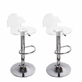 Adeco [CH0024] Transparent Hydraulic Lift Adjustable Barstool Chairs (Set of 2), Chrome Finish, Home Decor