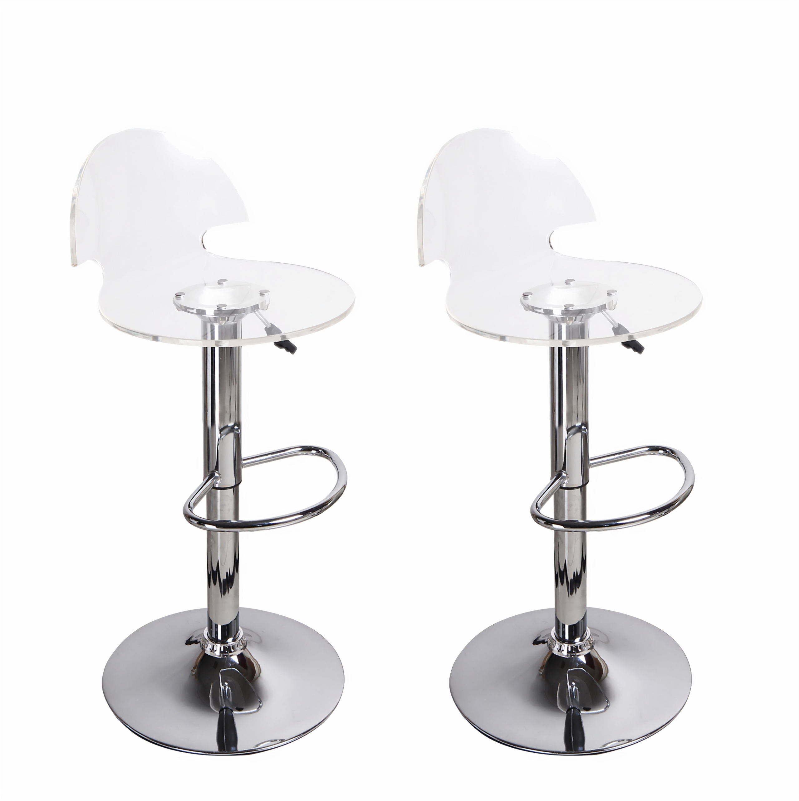 Superieur Adeco [CH0024] Transparent Hydraulic Lift Adjustable Barstool Chairs (Set  Of 2),