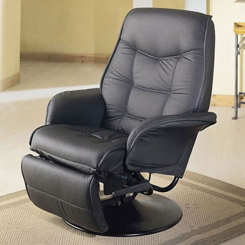 Superbe Beautiful Leatherette Cushion Swivel Recliner In Black