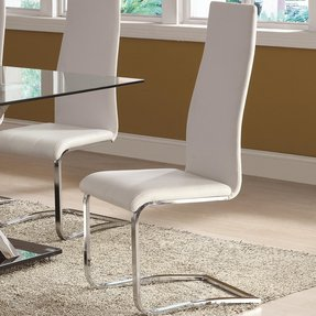 Coaster 100515WHT Modern Dining White Faux Leather Dining Chair with Chrome Legs - Pack of 4