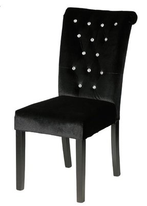 Cortesi Home Cleopatra Faux Crystal Tufted Black Velvet Parson Dining Chair (Set of 2)