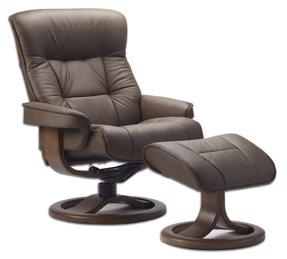 Fjords 855 Loen Large Leather Recliner Norwegian Ergonomic Scandinavian Lounge Reclining Chair Furniture Nordic Line Genuine Cappuccino Leather Cherry Wood