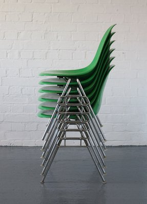 Green stacking chairs 1