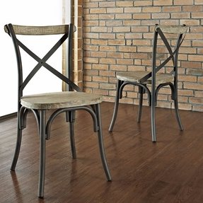 Industrial Reclaimed Solid Wood Dining Chairs, Set of 2