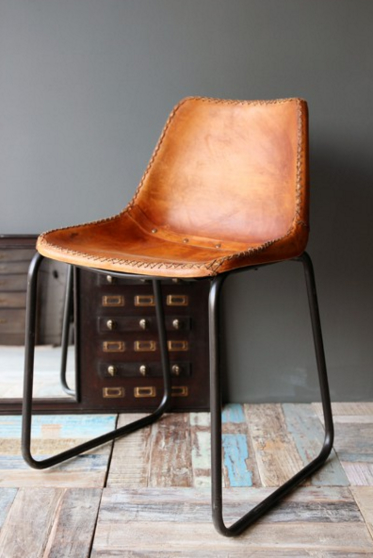 Leather stacking chairs