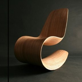 Modern chair wooden curved flow design idea