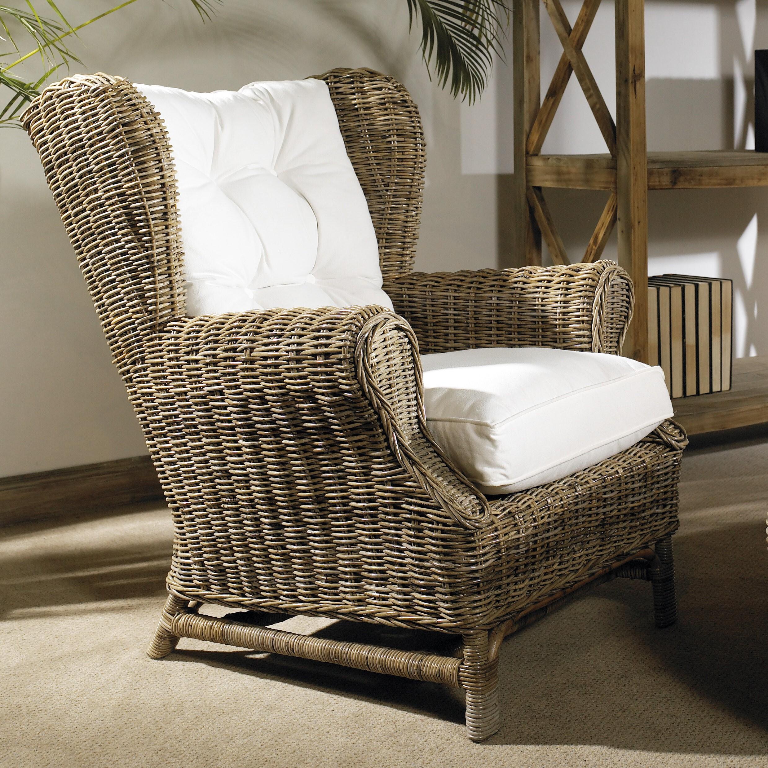 Padmau0027s Plantataion Wing Chair, Kubu With White Cushion