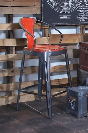 Red rustic bar stools